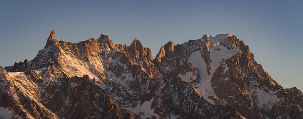 Dent du Géant and Grandes Jorasses at sunrise