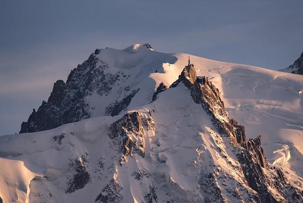 Aiguille du Midi and Mont Blanc du Tacul at sunset