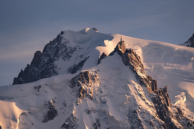 Aiguille du Midi and Mont Blanc du Tacul at sunset