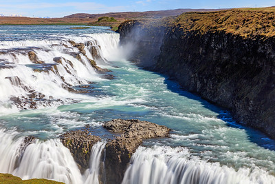 Upper And Lower Gullfoss Waterfalls In Iceland
