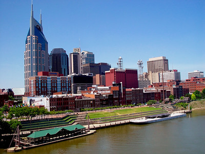 Riverfront Park and Downtown Nashville by the Cumberland River - May 2004