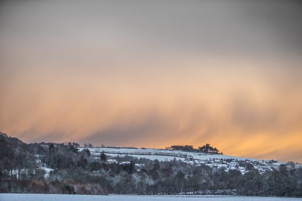 Dusk winter overlooking Avoch Rosehaugh Estate Black Isle