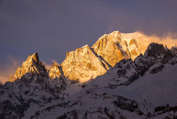 Peuterey Ridge and Mont Blanc at sunrise from Val Ferret, Italy