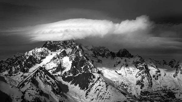 Mont Blanc's south face with a storm brewing, from Mont Colmet, Italy