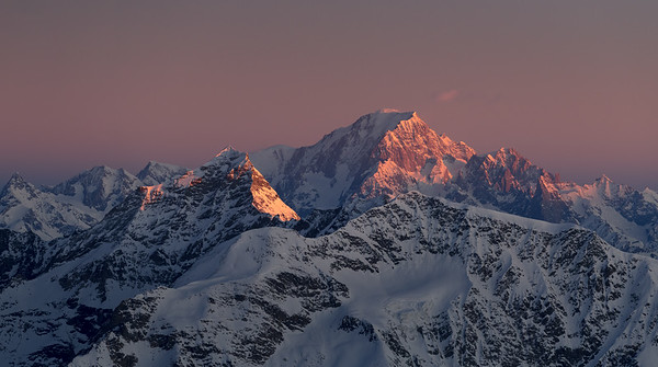 Mont Blanc and Mont Pourri at sunrise from the Grande Motte