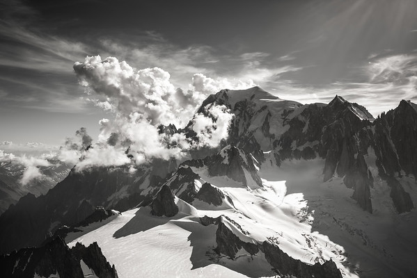 Mont Blanc and Mont Maudit from the Dent du Géant, France/Italy
