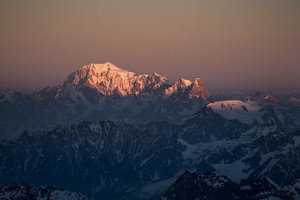 Mont Blanc Massif at sunrise from Castor