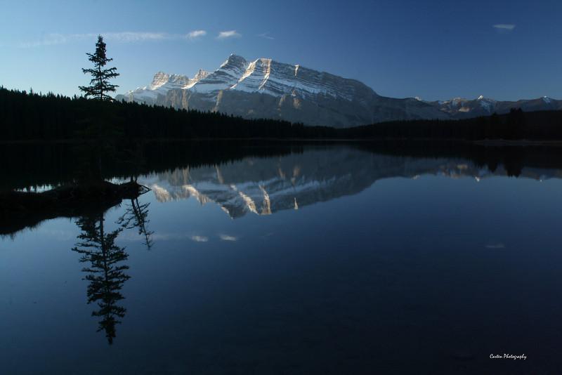 Mount Rundle taken from Two Jack Lake at sunrise