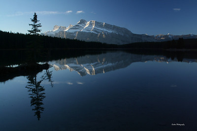 Mount Rundle taken from Two Jack Lake at sunrise