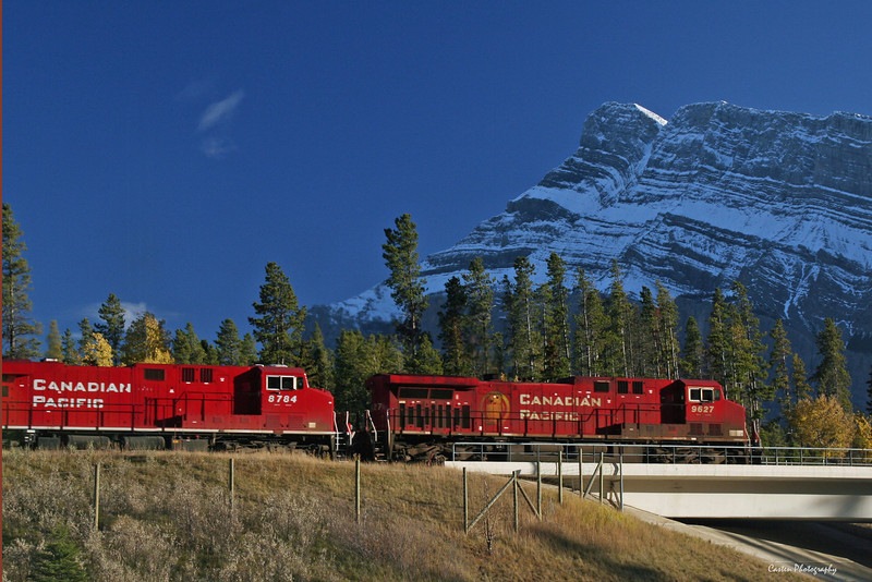 Canadian Pacific train westbound in front of Mount Rundle