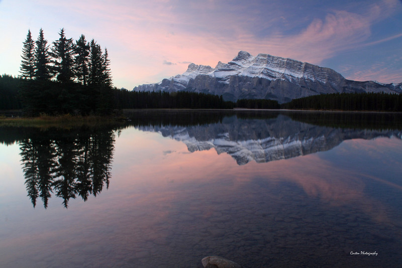 Mount Rundle taken at Two Jack Lake at sunrise