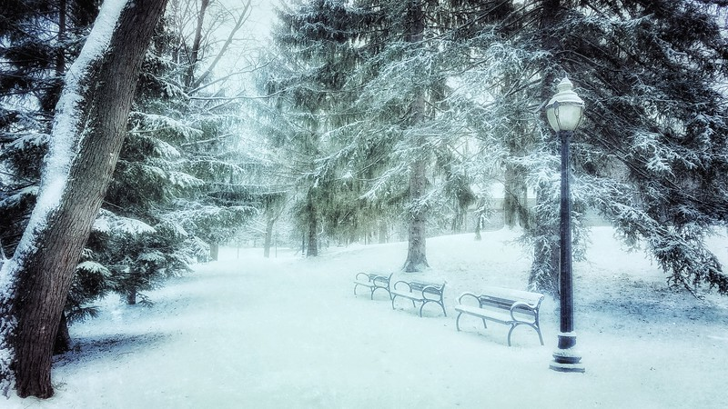 Salesian Park Benches as a snow storm moved over. I love the loneliness of this image. Shot with Samsung Mobile Galaxy S7, Edited with Snapseed — at Goshen , New York.