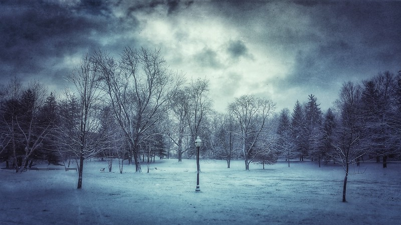 Salesian Park as another snow storm pushes in on top of me. Shot with Samsung Mobile Galaxy S7, Edited with Snapseed — at Goshen , New York.
