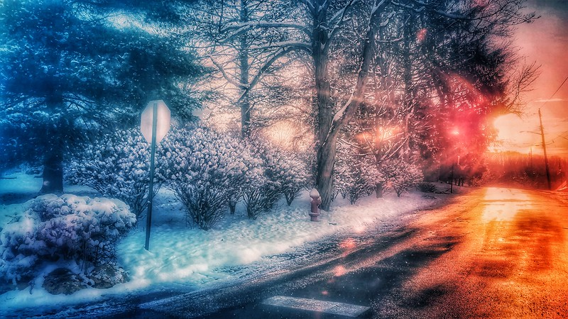Snow Storm, Goshen, NY DEC 10, 2017, Daybreak, Shot with Samsung Mobile Galaxy S7, Edited with Snapseed