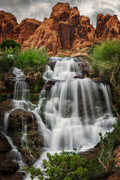 A man-made waterfall near Moab, Utah