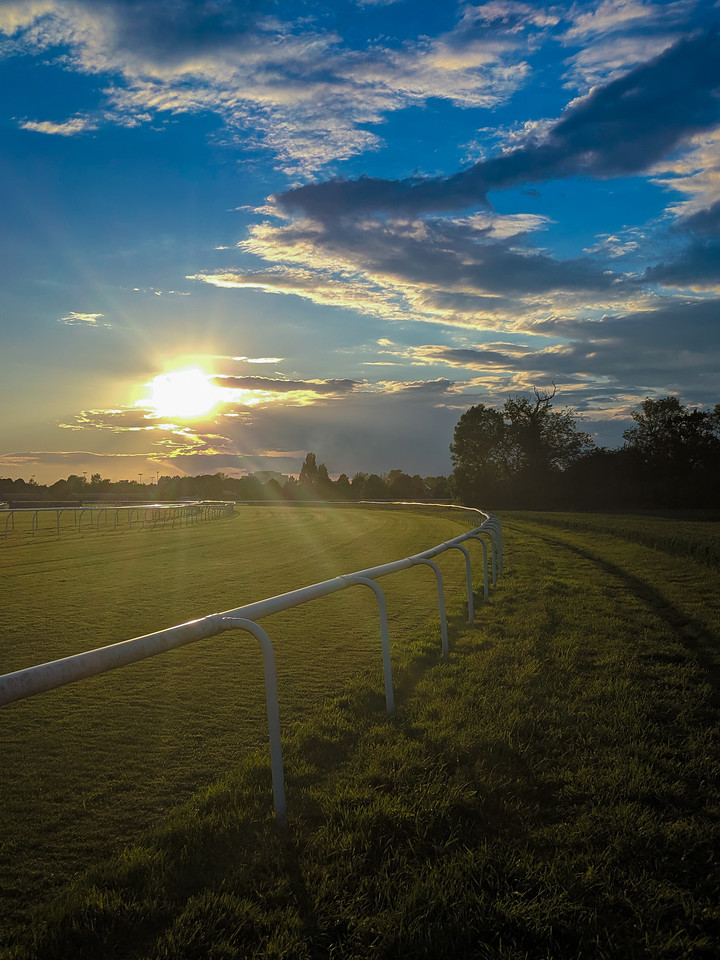 Doncaster Racecourse Bathed in a Summer sunset