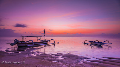 Sanur beach in Bali at sunrise