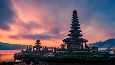 Ulun Danu Beratan floating temple in Bali at the golden hour - sunrise