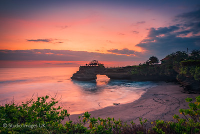 Pura Tanah Lot Temple at sunset in Bali
