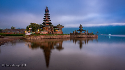 Ulun Danu Beratan Bali at the blue hour just before sunrise