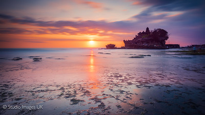 Pura Tanah Lot Temple in Bali at sunset