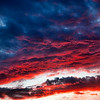 Fire red storm clouds.