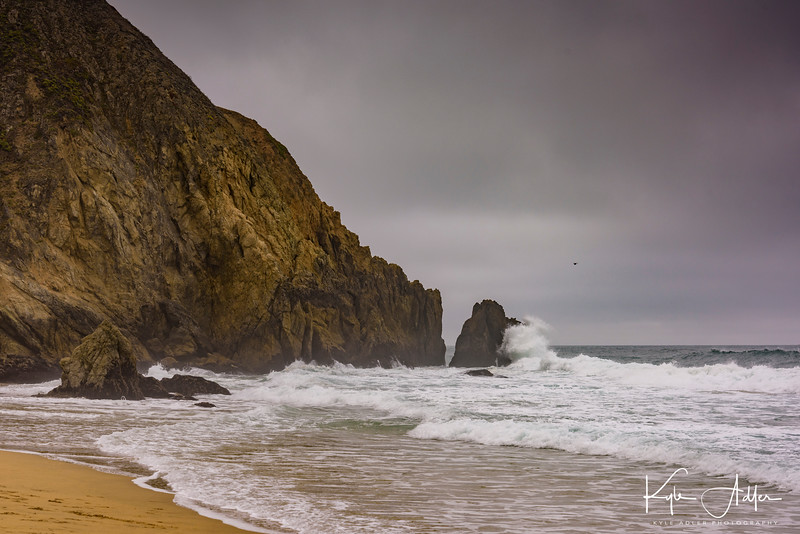 South end of the beach with dramatic pounding surf and some magical rock formations.