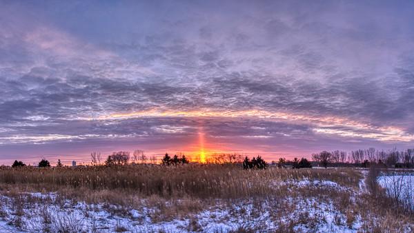 Sunset in Kaukauna on December 28, 2021