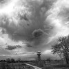 Ominous Skies beyond the Observation Tower (Black and White))