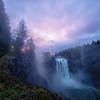 Lights on the Trail at Snoqualmie Falls Early Morning Sunrise 1-19-18