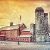 Meadow Brook Farm Silos at Sunset. One of the few times I didn't mind the Power Lines in my shot. I think it actually adds to the commercial beauty. Shot with Samsung Mobile Galaxy S7 and Edited with Snapseed. — in Warwick, New York.