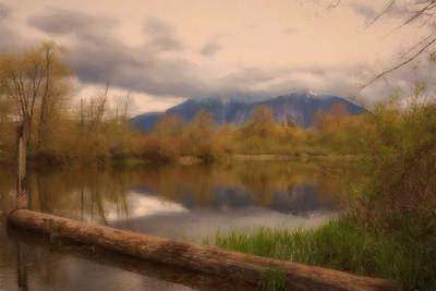 Soft Spring Reflection East End Borst Lake Monet Impression