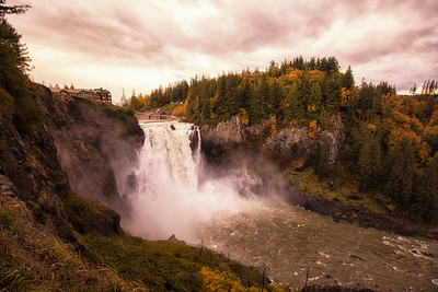 Snoqualmie Falls Autumn Before Storm