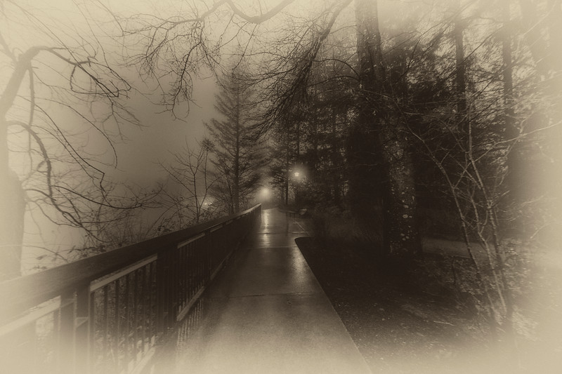Light on the Winter Path - Sepia Antique Version
