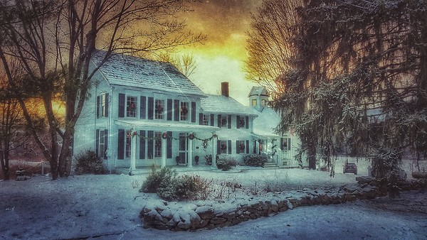 The Sunset! The Home! The Trees! The Photographer <<< LOL I was just in the right spot at the right time. Love this shot! Again, stopped in the middle of the road. Luckily when it snows, traffic is half the usual. Shot with Samsung Mobile Galaxy S7 and Edited with Snapseed. — in Warwick, New York.
