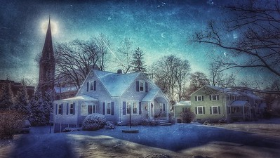 Snow Storm, December 14, 2017, Goshen, NY. Reminds me of Starry Night. Shot with Samsung Mobile Galaxy S7, Edited with Snapseed