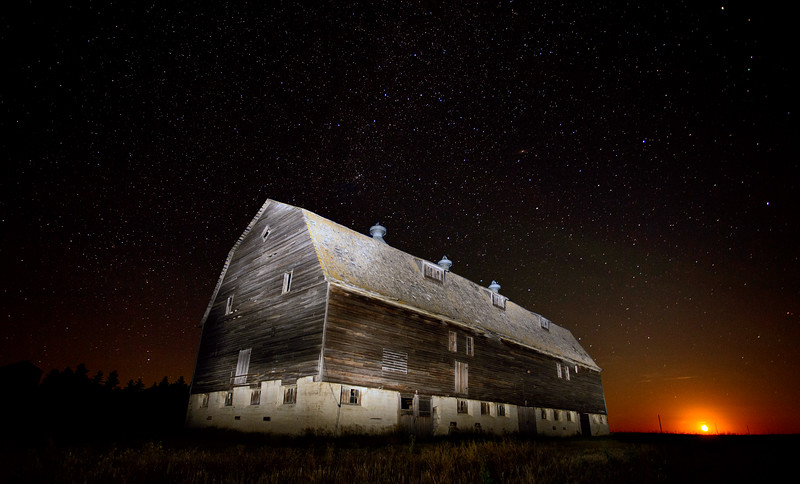 Night Barn Star Trails