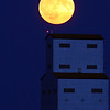 Full moon over Tuxford grain elevator