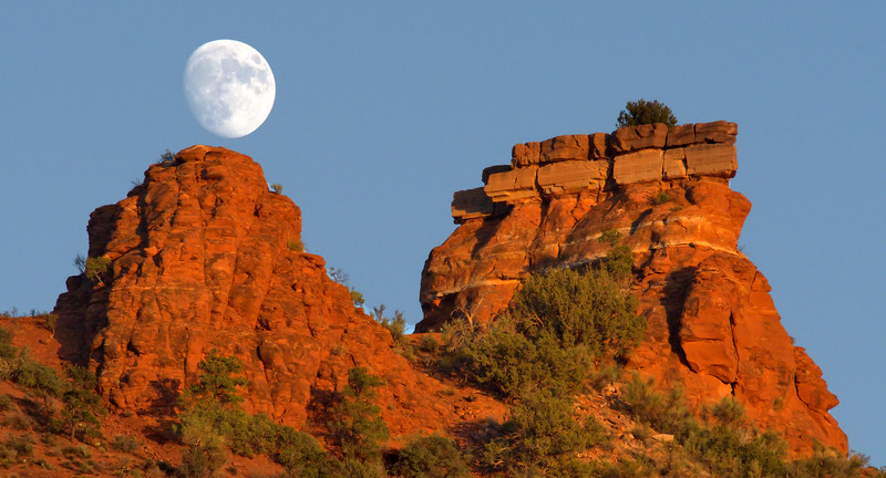 Moon Rising in the Sky in Sedona