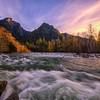 Middle Fork Riverbend Golden Hour Slow Shutter Sunset