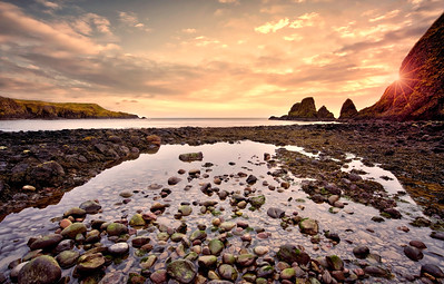 The rocky bay at Duntottar Castle by David Stoddart