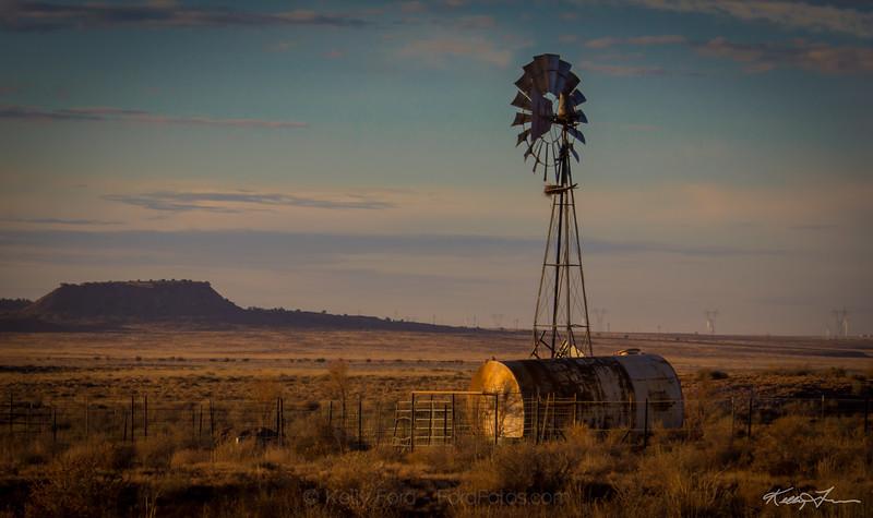 Lone Windmill  Desert windmill at sunrise, captured south of Holbrook, Arizona