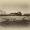 Two Roads - Boardwalk Meadowbrook Farm Winter Golden Hour Sepia Antique Effect