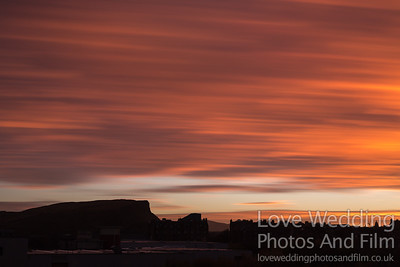 Salisbury Crags Edinburgh - Sunset Orange Sky
