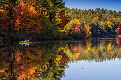 Turkey Pond Concord NH fall reflection yellow kayak closeup 10-12-15 - Copy
