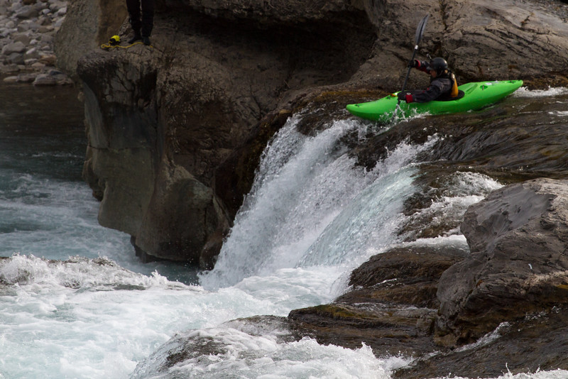 Kayaker Going Over Elbow Falls