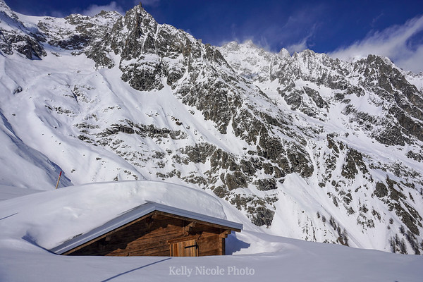 Buried cabin in the Alps