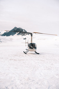 Helicopter on Alaskan Glacier