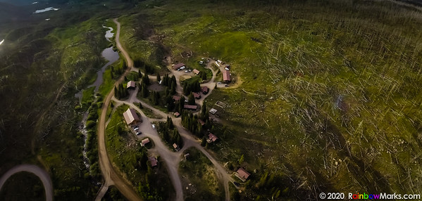 Trappers Lake Lodge and Cabins from above