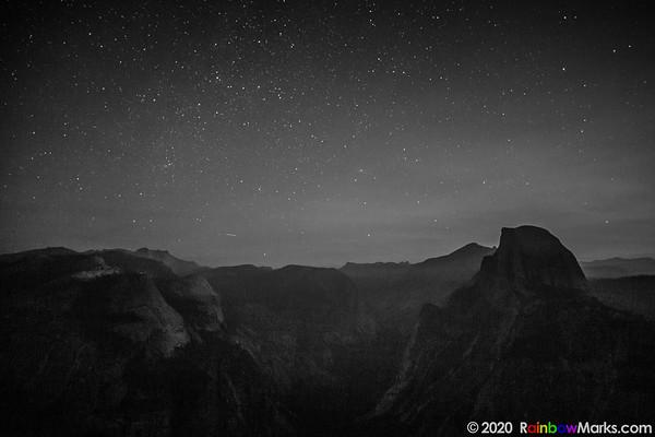 Half Dome at Night B&W